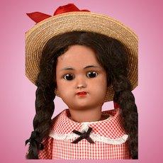 "Precious Handwerck / Halbig Black Child Antique Bisque Doll with Original Wig 18.5"""