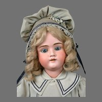 "Adorable 28"" Walkure Antique Bisque Child Doll in Teal Costume"