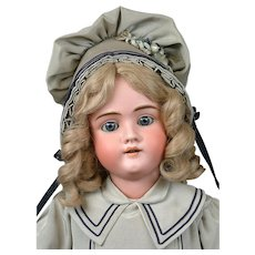 """Adorable 28"""" Walkure Antique Bisque Child Doll in Teal Costume"""