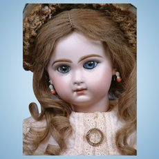 "Gorgeous 19"" Closed Mouth Tete Jumeau Bebe With Stunning Blue Eyes—She Has THE LOOK!"