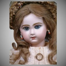 """Gorgeous 19"""" Closed Mouth Tete Jumeau Bebe With Stunning Blue Eyes—She Has THE LOOK!"""
