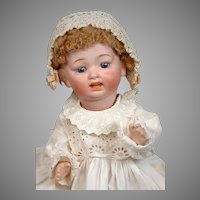 """Precious Morimura Bros Japanese Character Baby 17"""" in Antique Gown with Skin Wig"""