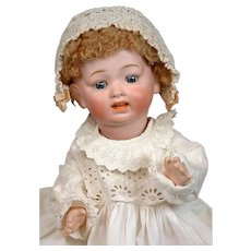 "Precious Morimura Bros Japanese Character Baby 17"" in Antique Gown with Skin Wig"