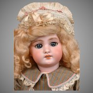 "Adorable DEP Antique Child Doll 16.5"" in Silk Costume with Antique Bonnet"