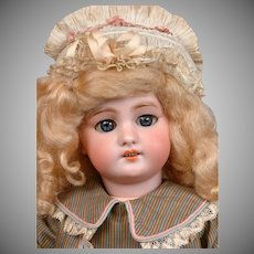 """Adorable DEP Antique Child Doll 16.5"""" in Silk Costume with Antique Bonnet"""