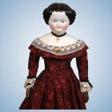 Precious Antique China Lady on Beautiful Original Body in Crimson Ball Costume 20.5""