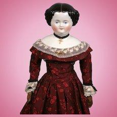"Precious Antique China Lady on Beautiful Original Body in Crimson Ball Costume 20.5"""