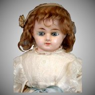 """Exquisite 28"""" Antique Wax Over Paper Mache Child Doll with Paperweight Eyes"""