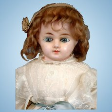 "Exquisite 28"" Antique Wax Over Paper Mache Child Doll with Paperweight Eyes"