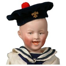 "Delightful Gebruder Heubach 7604 Laughing Boy 9.5"" in Adorable Antique Sailor Costume"