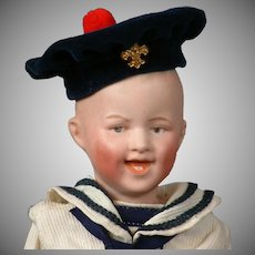 "Delightful Gebruder Heubach 7604 Laughing Boy 9.5"" in Adorable Antique Sailor Costume"