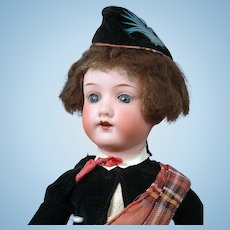 "German 12"" Armand Marseille 390 - Adorable Scottish Boy With Original Costume"