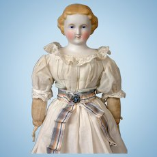 Darling Antique Parian Lady Doll in Original Antique Costume 11""