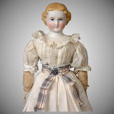 "Darling Antique Parian Lady Doll in Original Antique Costume 11"""