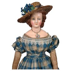 "Rare and Outstanding 16"" Wax Over Papier Mache Circa 1830 All Original in Silk Gown with Fancy Hairdo~Museum Piece!"