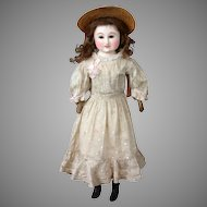 """Unique Wax and  Paper Mache Antique All-Original Lady Doll 21.5"""" in Silk Gown"""