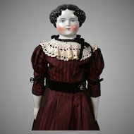 """Beautiful Antique Large China Lady in Burgundy Gown & Antique Undergarments 31"""""""