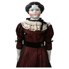 Beautiful Antique Large China Lady in Burgundy Gown & Antique Undergarments 31""