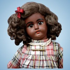 "Sweet 15.5"" Black Simon & Halbig 1079 Antique Bisque Doll in Pretty Plaid Dress"