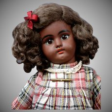 "Sweet 15.5"" Black Simon & Halbig 1079 Antique Bisque Doll in Pretty Plaid Dress"