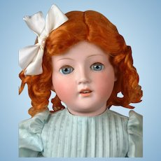 "Beautiful Antique German Bisque Child Doll 24.5"" in Pale Blue Dress"