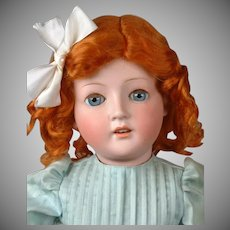 """Beautiful Antique German Bisque Child Doll 24.5"""" in Pale Blue Dress"""