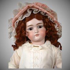 """Simon & Halbig 1349 """"Jutta"""" Antique Bisque Doll in White Antique Dress 29"""""""