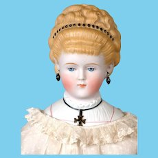 "Most-Elegant Parian Lady with Pouffe Hairstyle 22.5"" with Detailed Collar Plate Known as ""The Iron Cross Lady"""