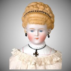 """Most-Elegant Parian Lady with Pouffe Hairstyle 22.5"""" with Detailed Collar Plate Known as """"The Iron Cross Lady"""""""