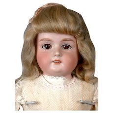 "Classic Armand Marseille 370 Antique Bisque Child Doll 22"" in Original Wig"