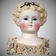 """*My Fair Lady* Antique Glass-Eyed Parian Lady with Platinum Blond Curls, Molded Hair Bow  in Original Ensemble!  22"""""""
