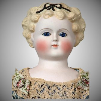 *My Fair Lady* Antique Glass-Eyed Parian Lady with Platinum Blond Curls, Molded Hair Bow  in Original Ensemble!  22""