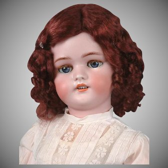 24' Darling Simon & Halbig 1078 Classic Bisque Antique Child Doll in White Antique Dress