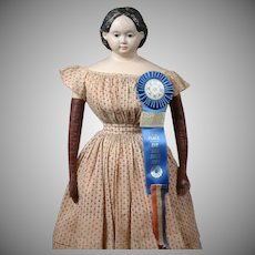 """Impressive 33"""" Ludwig Greiner Papier Mache Doll with Provenance and Awards!"""