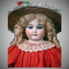 "24.5"" Gebruder Kuhnlens Closed-mouth Antique Lady Doll c1880 in Antique Crimson Dress"