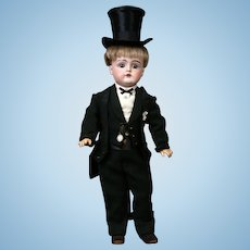 "The Delightful 16.5"" Kestner 129 Antique Bisque Boy in Antique Tuxedo w/Top-hat"