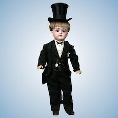 "The Delightful 16.5"" Kestner 129 Antique Bisque Boy in Antique Tuxedo w/Top-hat"