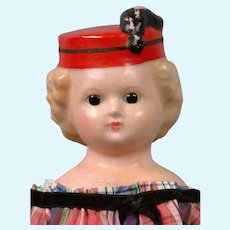 "18"" Antique Wax Over Paper Mache ""Pumpkin Head"" Doll with Rare Hat"