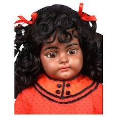 "Rare  Black  21"" Simon & Halbig 739 Antique Doll in Antique Costume"