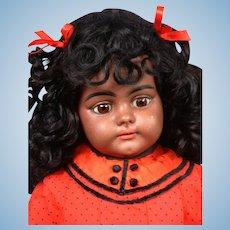 """Rare  Black  21"""" Simon & Halbig 739 Antique Doll in Antique Costume"""