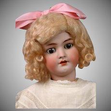 """Handwerck Halbig 22"""" Antique Bisque Doll in White Antique Dress"""