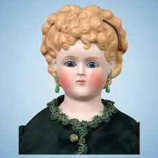 "Elegant Tinted Bisque Antique Lady with Regal Hairstyle 22"" in Silk Costume"