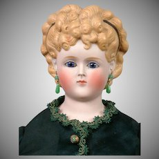 """Elegant Tinted Bisque Antique Lady with Regal Hairstyle 22"""" in Silk Costume"""