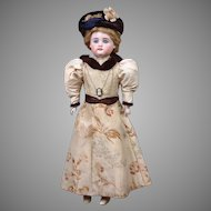 "15"" All Original Swivel-Head Square-tooth Kestner Fashion Doll with Silk Ensemble—PERFECT!"