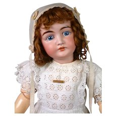 "Early Character Letter Kestner 30"" Antique Doll in White Antique Dress"