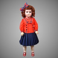 "Sweet 21"" Simon & Halbig 1079 Antique Bisque Doll in Pretty Sailor Dress"