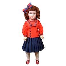 "Sweet 21"" Simon & Halbig 1079 Antique Bisque Doll in Pretty Sailor Dress"