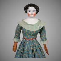 Beautiful Antique China Lady with Leather Arms 20""