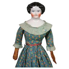"""Beautiful Antique China Lady with Leather Arms 20"""""""