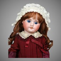"SFBJ 60 Antique Bisque Doll 18"" in Bebe Dress"